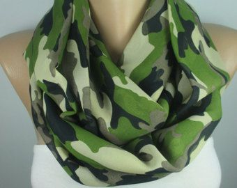 Red Camouflage scarf military scarf Army print scarf infinity