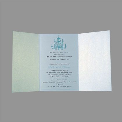 DIY Pocket wedding invitations featuring a picture of a chandelier. The chandelier can be printed in 50 colours. www.kardella.com