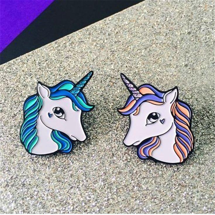 Tong qu creative little cute animal unicorn brooch fine coat sweater shirt collar pin bag accessories
