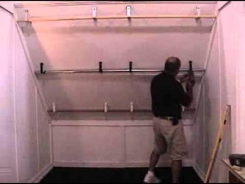 Slanted ceiling closet hang bars