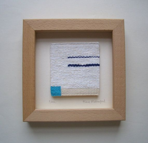 BLUE 2 unique small framed Handwoven by RutherfordTextileArt