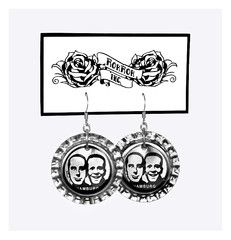Handmade design jewellery, DIY crafts, upcycled bottle cap earrings (Fritz Cola from Hamburg, Germany).