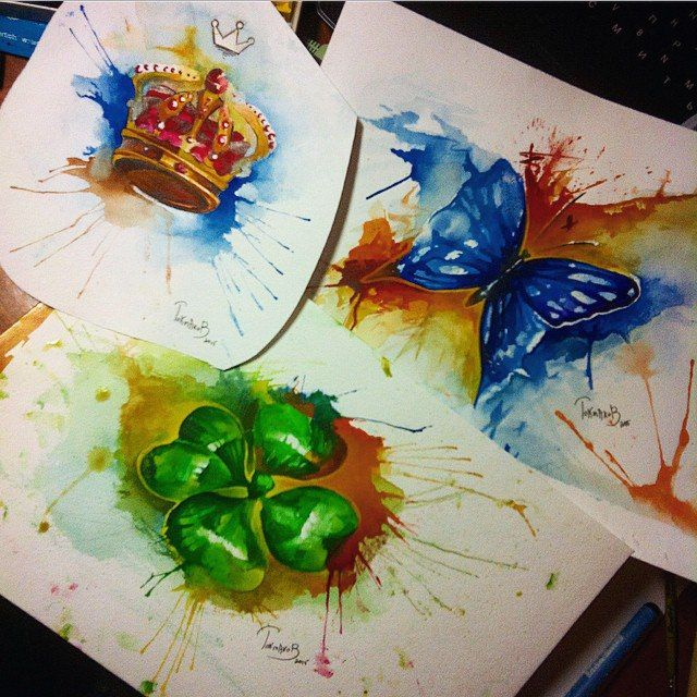 #watercolor #watercolortattoo #watercolorsketch watercolor tattoo sketch clover crown