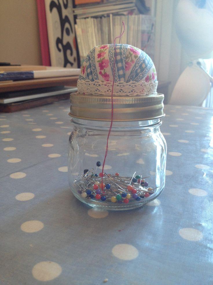 My little pin cushion jam jar I made