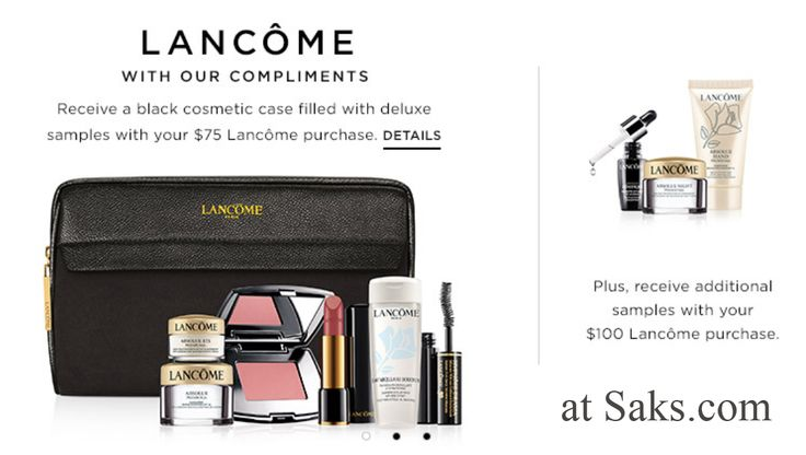 Shop online at Saks to receive these Lancome freebies. Promo codes required. http://cliniquebonus.org/lancome-gift-with-purchase/