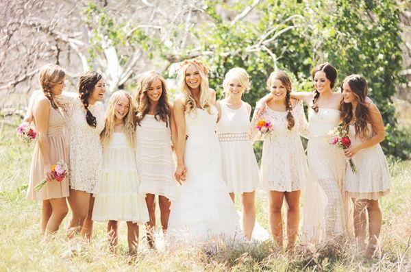white bridesmaids is cute