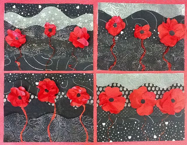 Poppy collages for Remembrance Day (tissue paper, scrapbook paper, glitter glue)