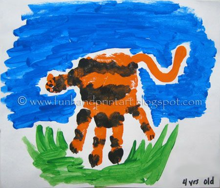 Handprint Tiger Craft for kids