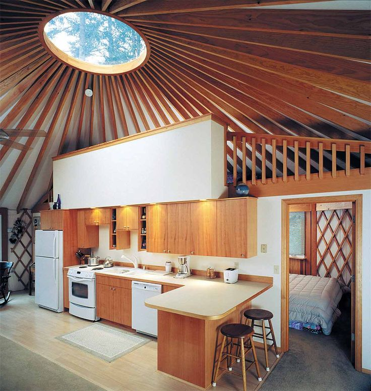 yurt kitchen and loft ... so nice!