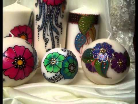 Henna Inspired hand painted candles
