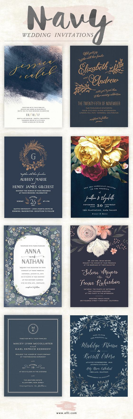 not on the high street winter wedding invitations%0A Navy wedding invitations from Elli com  Order a free sample