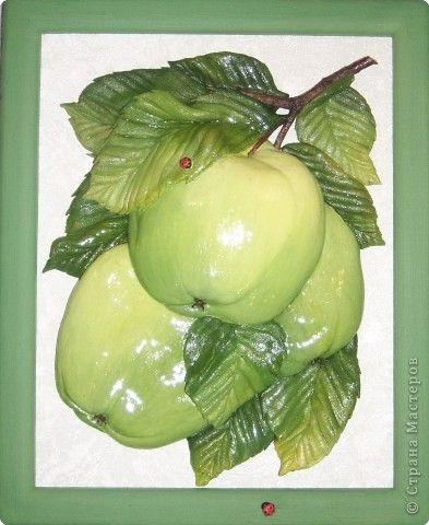 Картина панно рисунок Лепка Эх яблочки  Тесто соленое фото 1