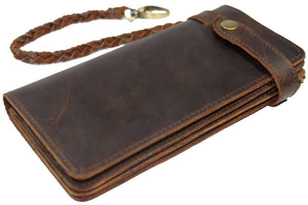 Free shipping,Chain Leather wallet, long style vintage waxed leather purse, crazy horse natural cowhide ,attached woven tail $39.99