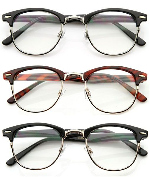 fake ray ban eyeglass frames  details about 80' s vintage clubsman horned rim half frame clear poly carbon lens glasses