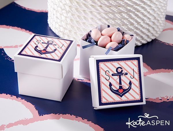 Nautical Favor Boxes | Nautical Bridal Shower Party Ideas | Pink and Navy Bridal Shower | www.kateaspen.com | Nautical Party Inspiration