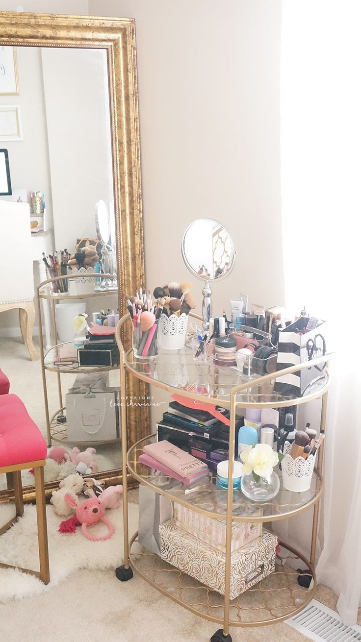 LOVEE using the bar cart for makeup - Beauty and Office Room Tour Fall 2015