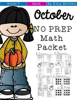 This October Math NO PREP packet that will keep your seventh graders engaged…