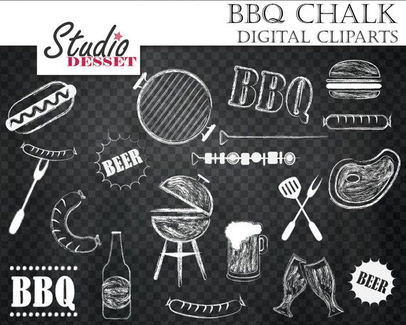 Barbeque Cliparts Chalkboard Grill Digital Clip by ...