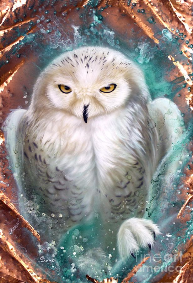 Copper Snowy Owl Painting