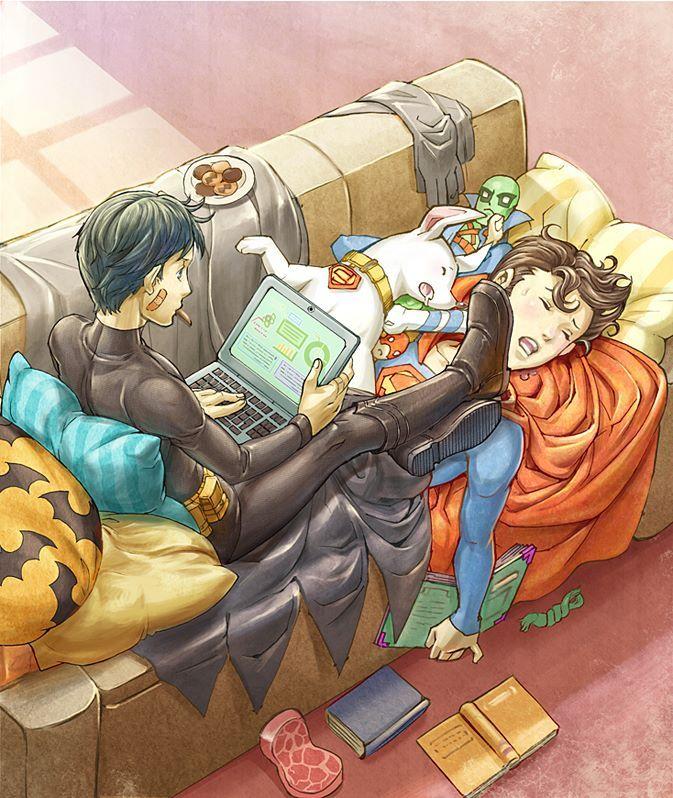 Teenage Batman & Superman by Suketaka