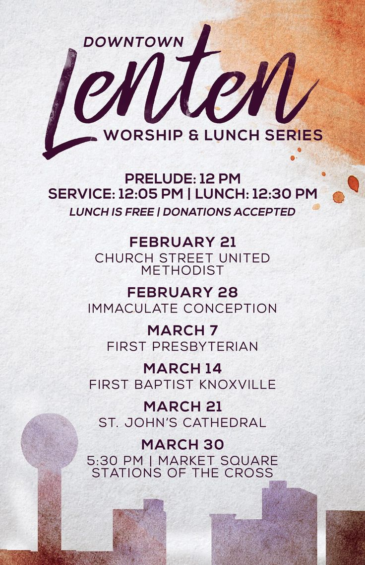 This is the schedule of the Ecumenical worship and lunch series for Downtown, Knoxville, TN, for Lent, 2018.  One of the locations is Immaculate Conception Church, which is served by the Paulist Fathers.