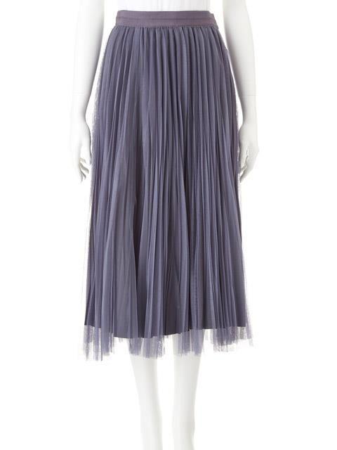 <スカート>・柔らかなチュールと透け感が、夏らしいチュールプリーツロングスカートです。