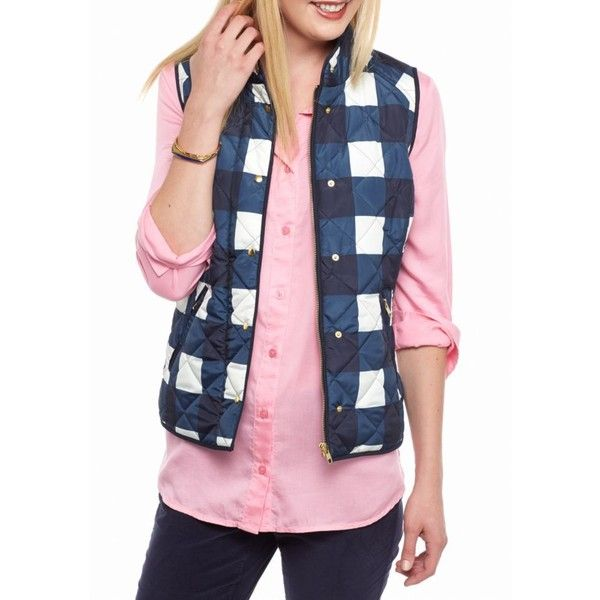Crown  Ivy  Navyivory Printed Puffer Vest - Women's ($50) ❤ liked on Polyvore featuring outerwear, vests, pattern vest, pink vest, puffy vests, puffer vest and pink puffy vest