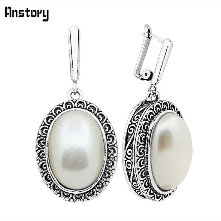 Big Oval Pearl Clip On Earrings Antique Silver Plated Party  Flower Pendant Fashion Jewelry TE194