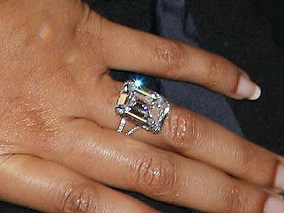 Beyonce's engagement ring. 18K, worth about $500,000. Words can not describe how astounding this ring is. Jay-Z sure did put a ring on it...