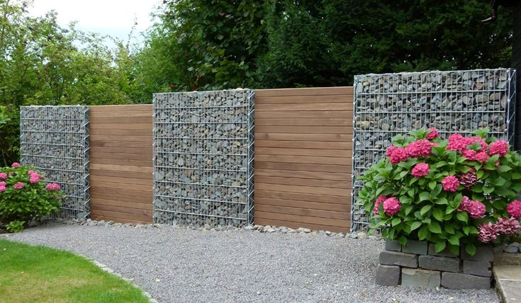 gabion with alternate timber panels http://www.gabion1.co.uk