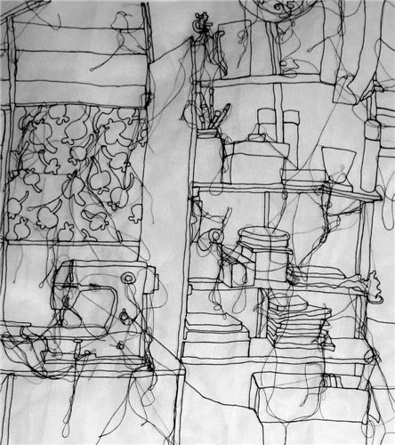 Rosie James Shed Series, 2010 An ongoing drawing of her workspace. Starting in one corner and working around the space. this is a work in progress. Machine stitched on cotton organdie.