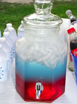 Independence Punch - • Fill pitcher w/ice •Pour in cranberry juice. • Pour blue Gatorade Frost, BUT make sure that when pouring the Gatorade that you pour straight onto some of the ice to gently add the layer. If you pour it directly into the juice, it will mix!• Add Diet 7-Up, also pouring onto an ice cube to prevent from mixing. Use drinks w/varying amts of sugar. Drinks containing more sugar (such as soda) are denser than those w/less (ex diet soda), making it possible to actually stack