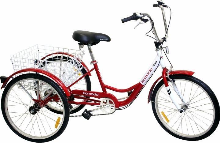 "6-Speed 24"" 3-Wheel Adult Tricycle Bicycle Trike Cushing Bike W/ Basket Red"
