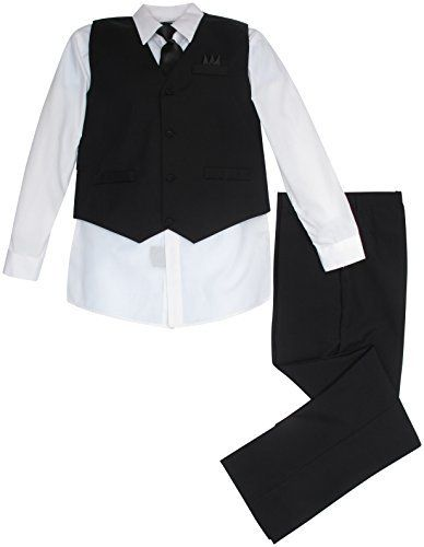 Vittorino Boys' 4 Piece Suit Set with Vest, Shirt, Tie, Pants, & Handkerchief When it comes to getting all dressed up, these suit sets are essential! Each set includes a vest, shirt, tie and pair of pants for a complete look suitable for any special occasion, from weddings to dances to formal dinners.Each set includes a shirt, tie, vest, and a pair of pantsThe perfect formal starter set for dressy occasionsVest features decorative pockets and an adjustable strap across t