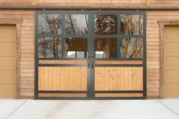 Sliding Quad Glass Door With Horizontal And Vertical Wood