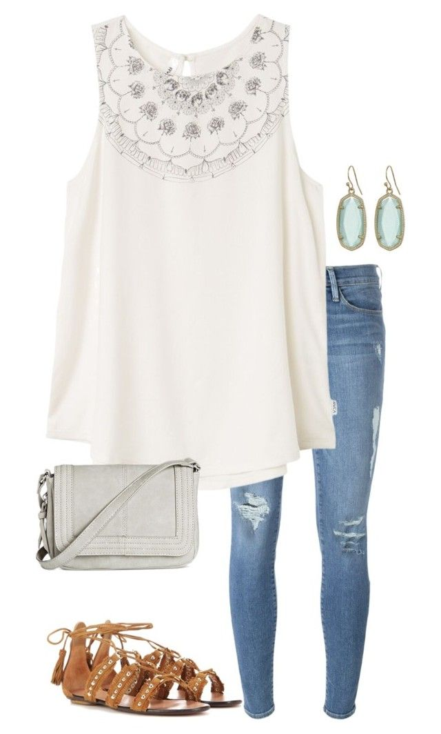 """Untitled #220"" by annakhowton ❤ liked on Polyvore featuring Frame Denim, RVCA, Kendra Scott, Aquazzura and Violet Ray"