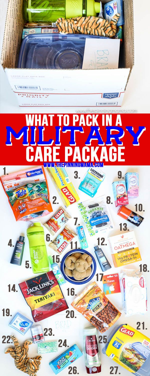 Over 30 ideas of things to pack in a military care package that will be useful, fun, or entertaining.  While our troops are working hard over seas to ensure our freedoms and receiving a care packag…