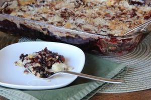 Peach-Blackberry Dump Cake - Gluten Free and Egg Free.  Substitute Earth Balance for butter for Dairy Free.