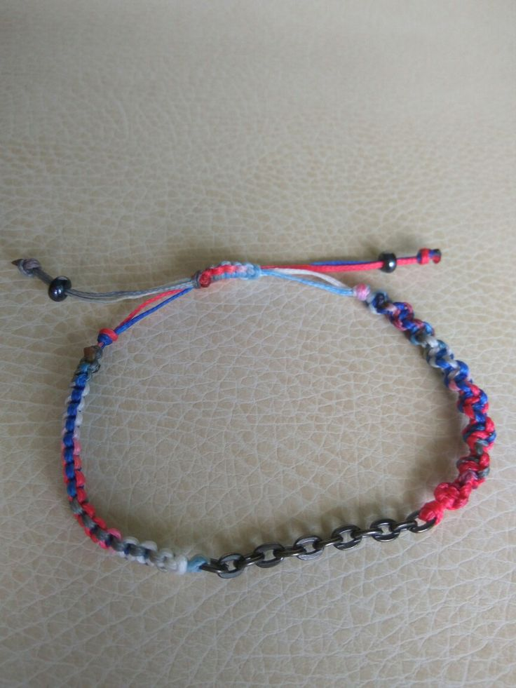 Chain,  red,  blue and white macrame bracelet