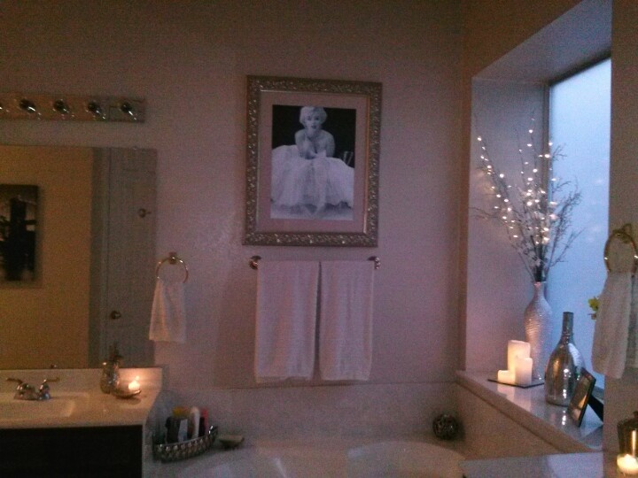 Here's my framed  Marilyn Monroe ballerina picture! My friend gave me this fabulous vintage estate frame, so I put it to good use! I love our bathroom!  All white  marble & chrome / Old Hollywood glam bathroom