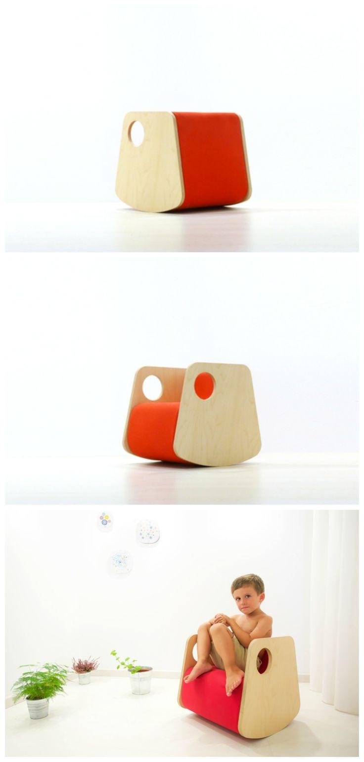 modern wood and red rocker for kids. | Me, wooden rocker petitandsmall.com