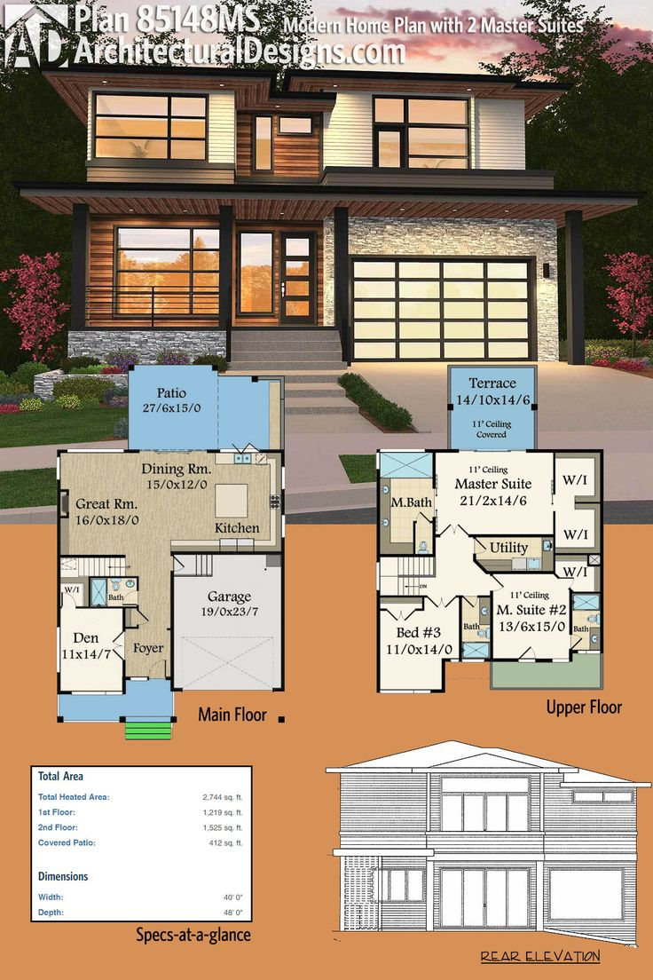 Architectural designs modern prairie house plan 85148ms gives you 2 master suites and over 2700 square