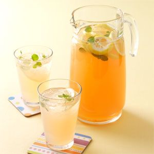 Fresh Peach Lemonade  --tried this with 1/2 cup sugar & still too sweet for me.  Next time will try 1/8 to 1/4 max.