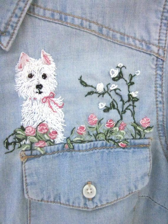 "I've just completed the first of a series of embroidered women's shirts that I'm hoping to have for sale at Rabbit Whiskers. The shirts are all new- never before worn; purchased expressly for the purpose of embroidering. I think of them as my ""canvas,"" to be ""hand painted"" using my embroidery needle and the wealth of be..."
