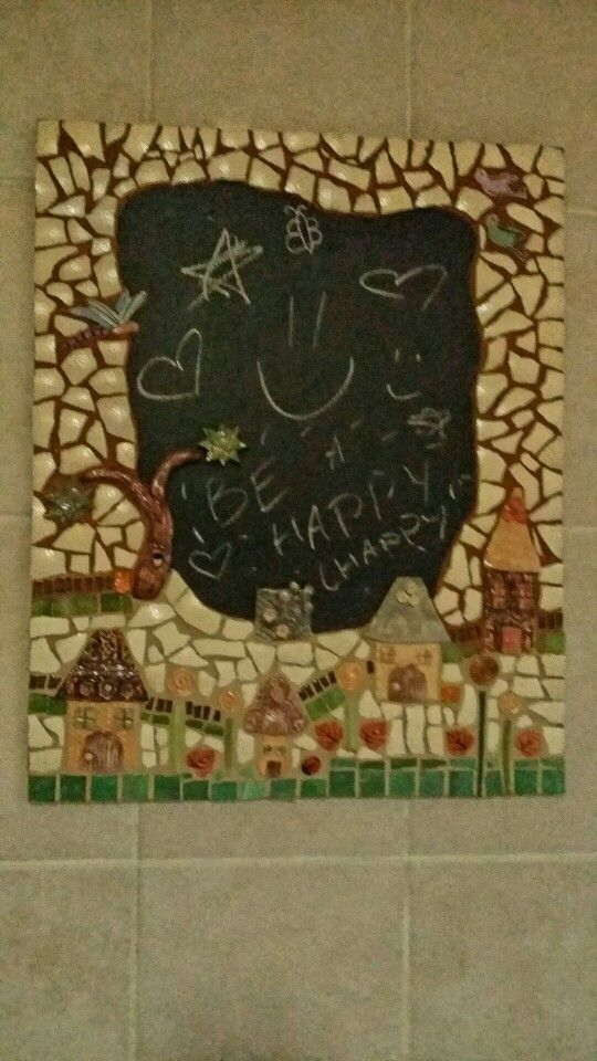 Chalk board - my first mosaic project using chopped ostrich shells as the main tiles
