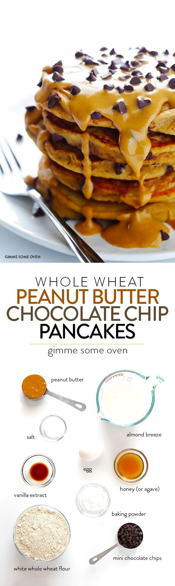 Whole Wheat Peanut Butter Chocolate Chip Pancakes -- so delicious, and made healthier with a few simple tweaks! | gimmesomeoven.com