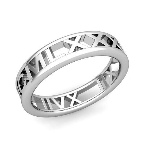 Legacy Roman Numeral Wedding Ring Band in 14k White or Yellow Gold, 5mm. Design and handcrafted by My Love Wedding Ring. This unique roman numeral wedding ring is crafted in your choice of 5mm 14k gold band with your special date converted to roman numerals.