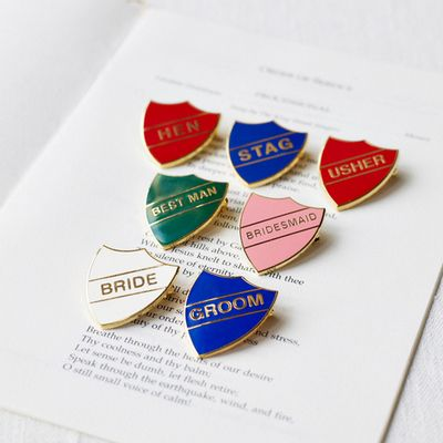 Old school wedding badges!! so cool :)
