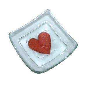 Jo Downs Handmade Glass Red Heart Earring Dish  Price : £7.99 http://www.bronzebarngallery.com/Jo-Downs-Handmade-Glass-Earring/dp/B00NC5DYPI
