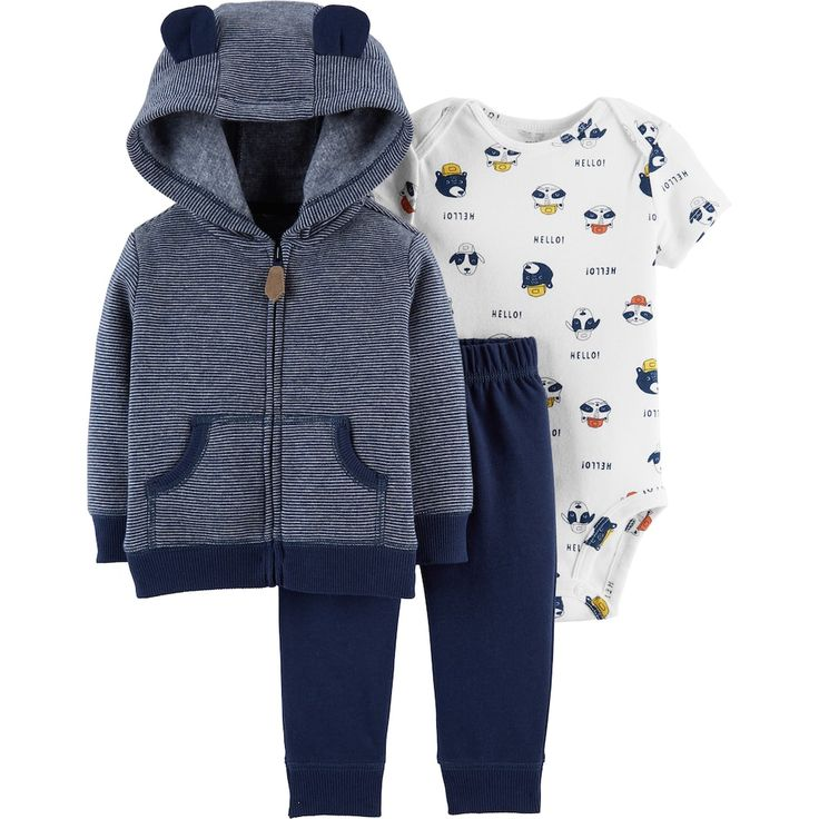 Baby Boy Carter S Animal Bodysuit Striped Fleece Hoodie